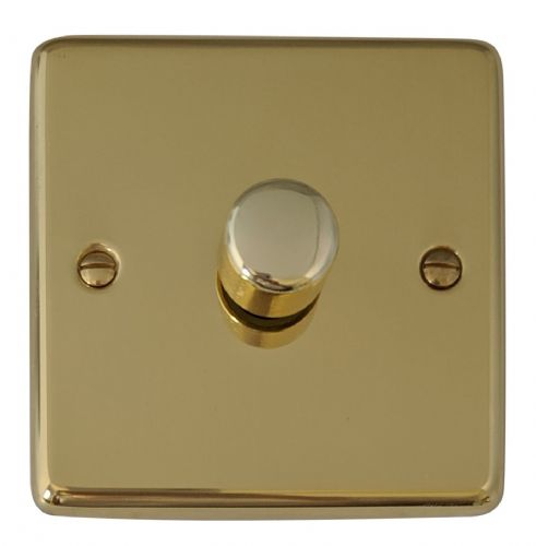 G&H CB11 Standard Plate Polished Brass 1 Gang 1 or 2 Way 40-400W Dimmer Switch
